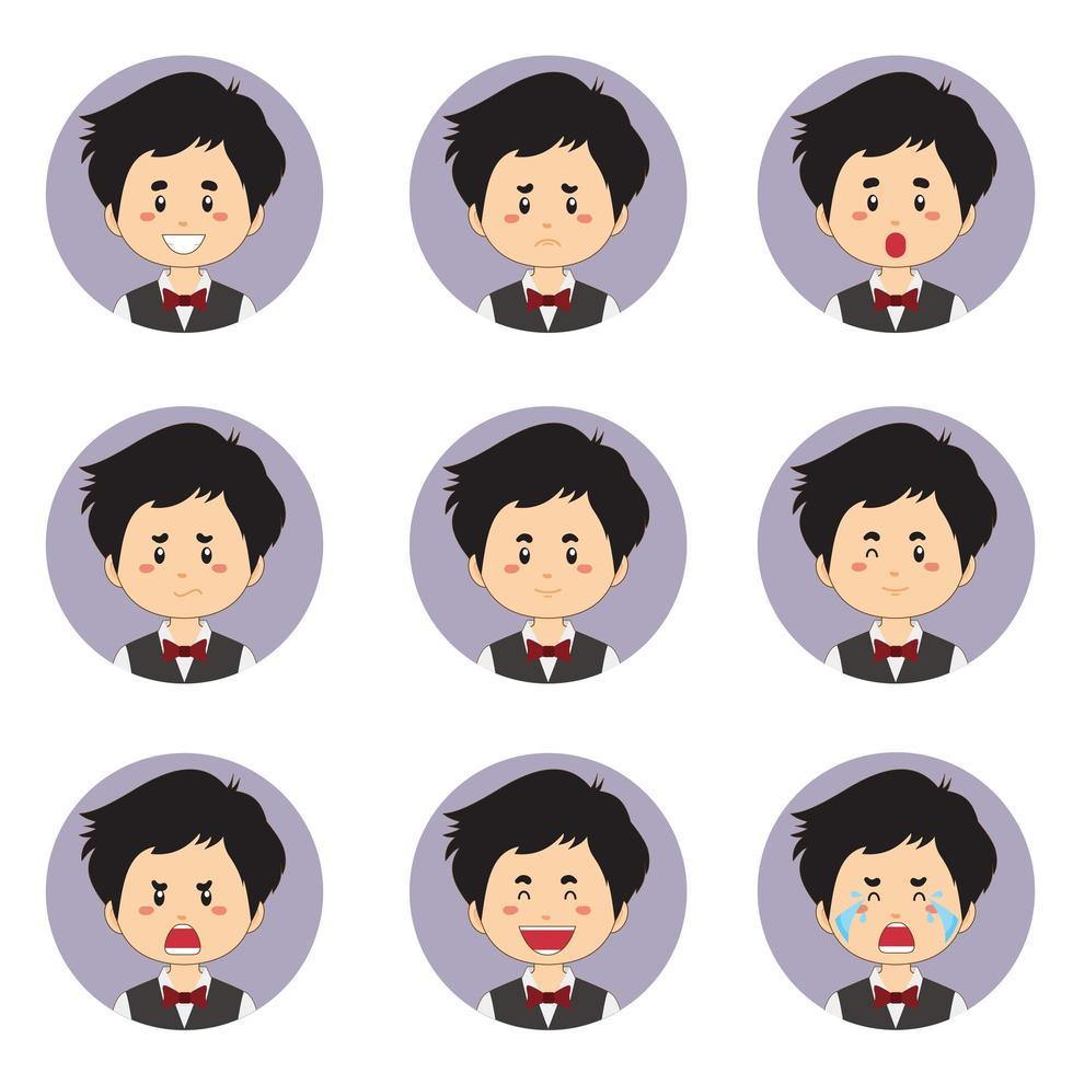 mannelijke huishoudster avatar met verschillende uitdrukkingen vector