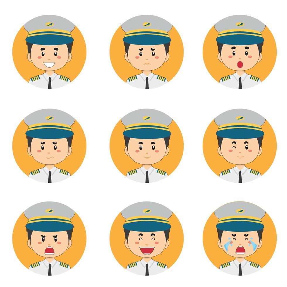 avatar pilote masculin avec diverses expressions vecteur
