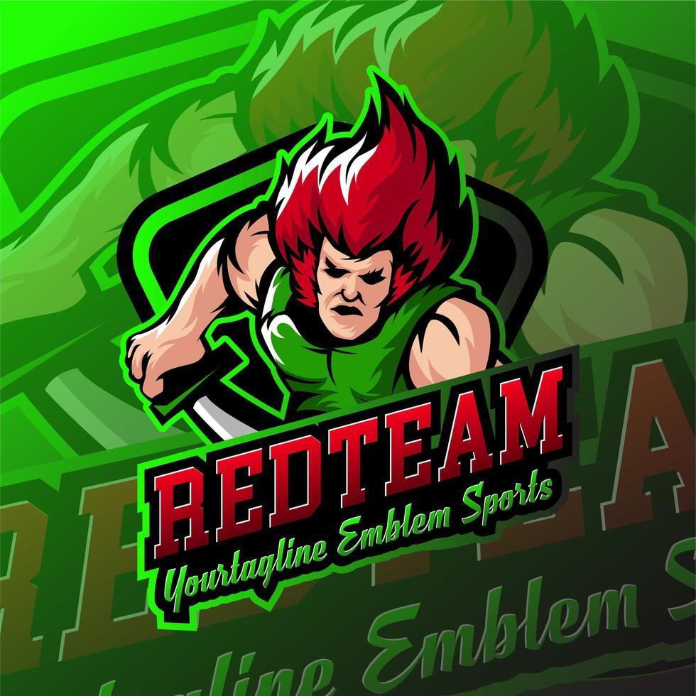 Redteam esports badges de logo de jeu humain vecteur