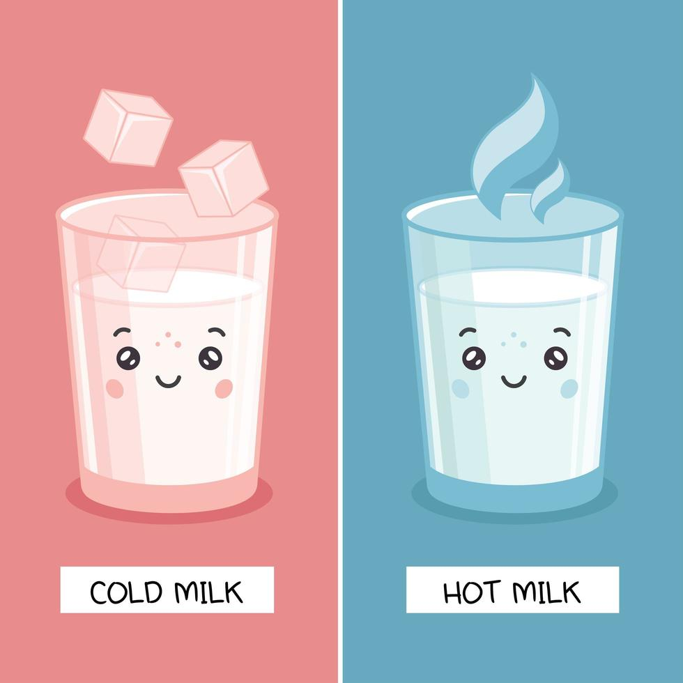 kawaii latte freddo e latte caldo vettore