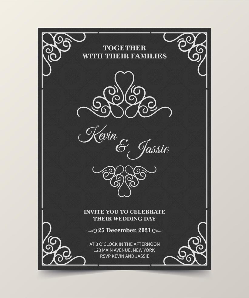 modèle d'invitation de mariage sombre vecteur