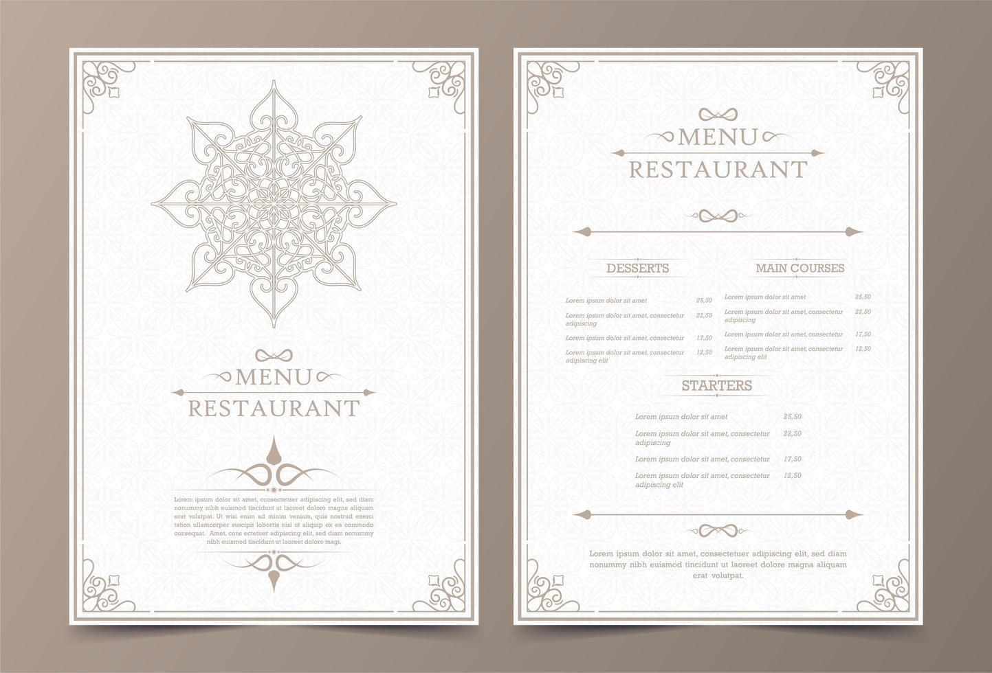 layout di menu vintage con ornamentali vettore