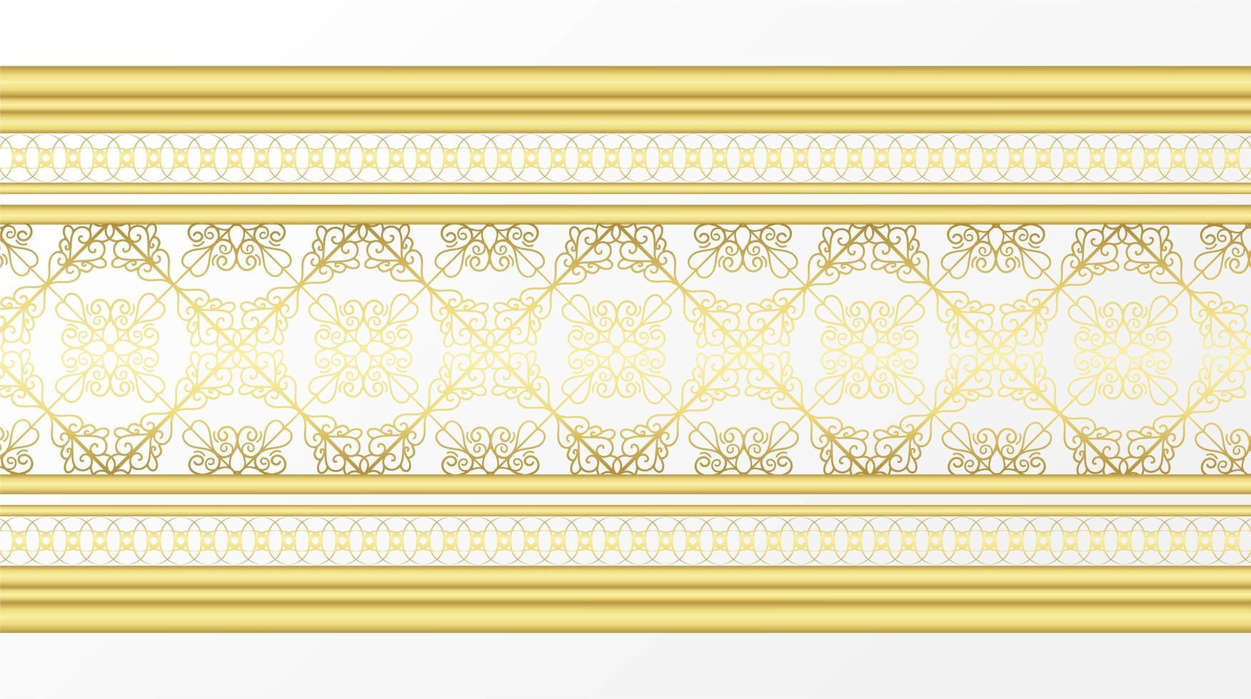 bordure décorative ornementale dorée vecteur