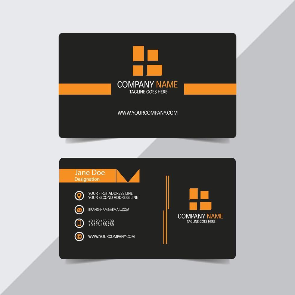 carte de visite noire avec des accents orange vecteur