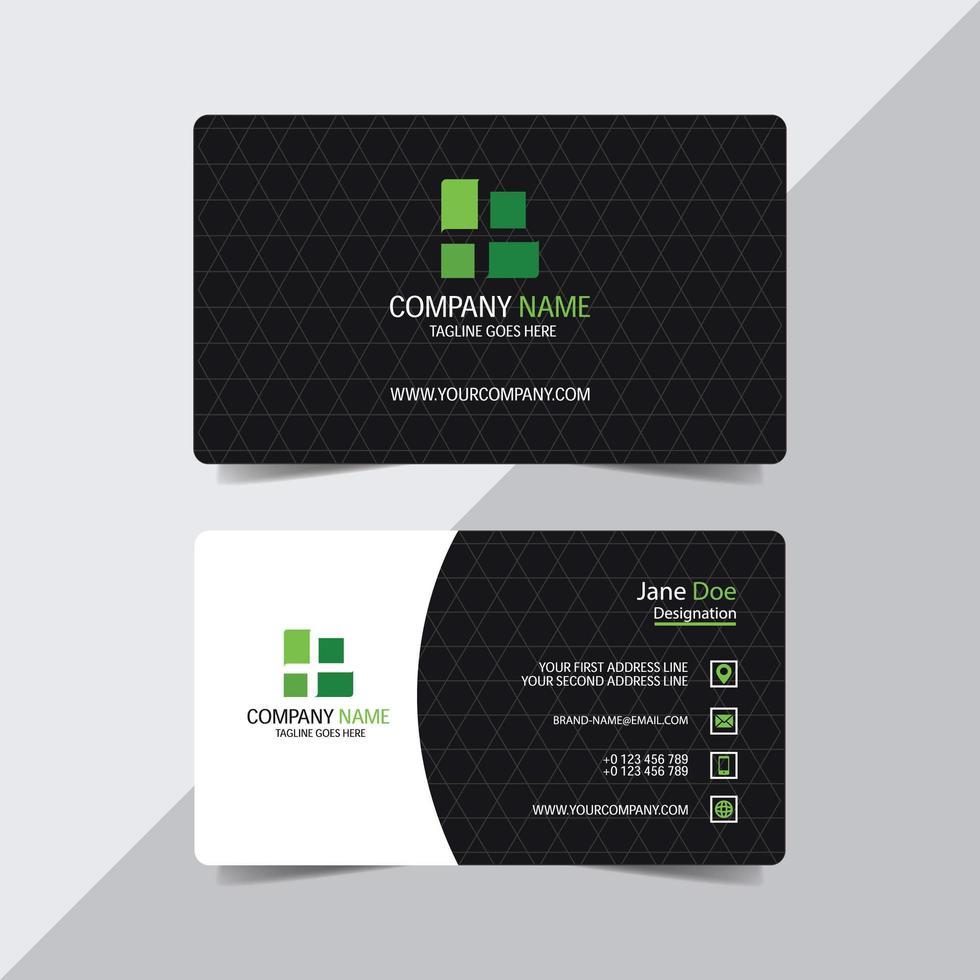 cartão de visita com padrão triângulo e detalhes em verde vetor