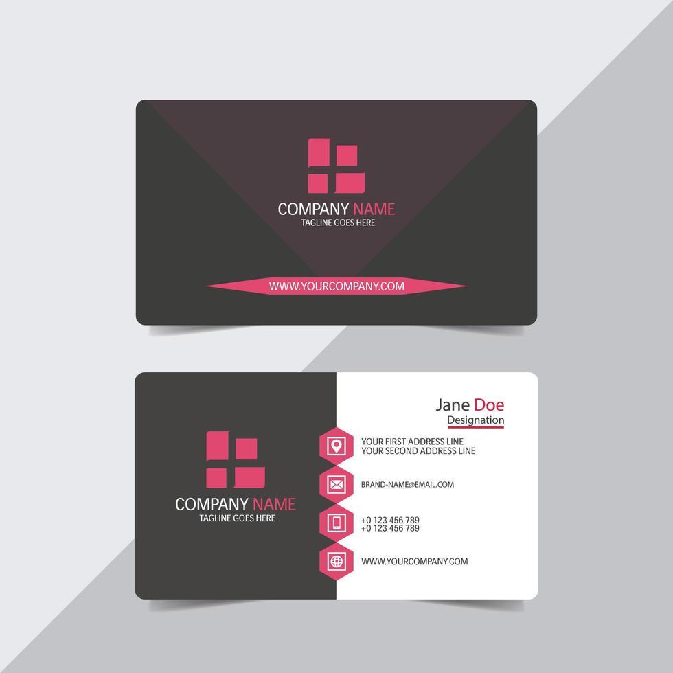Visitenkartenvorlage mit rosa Details vektor