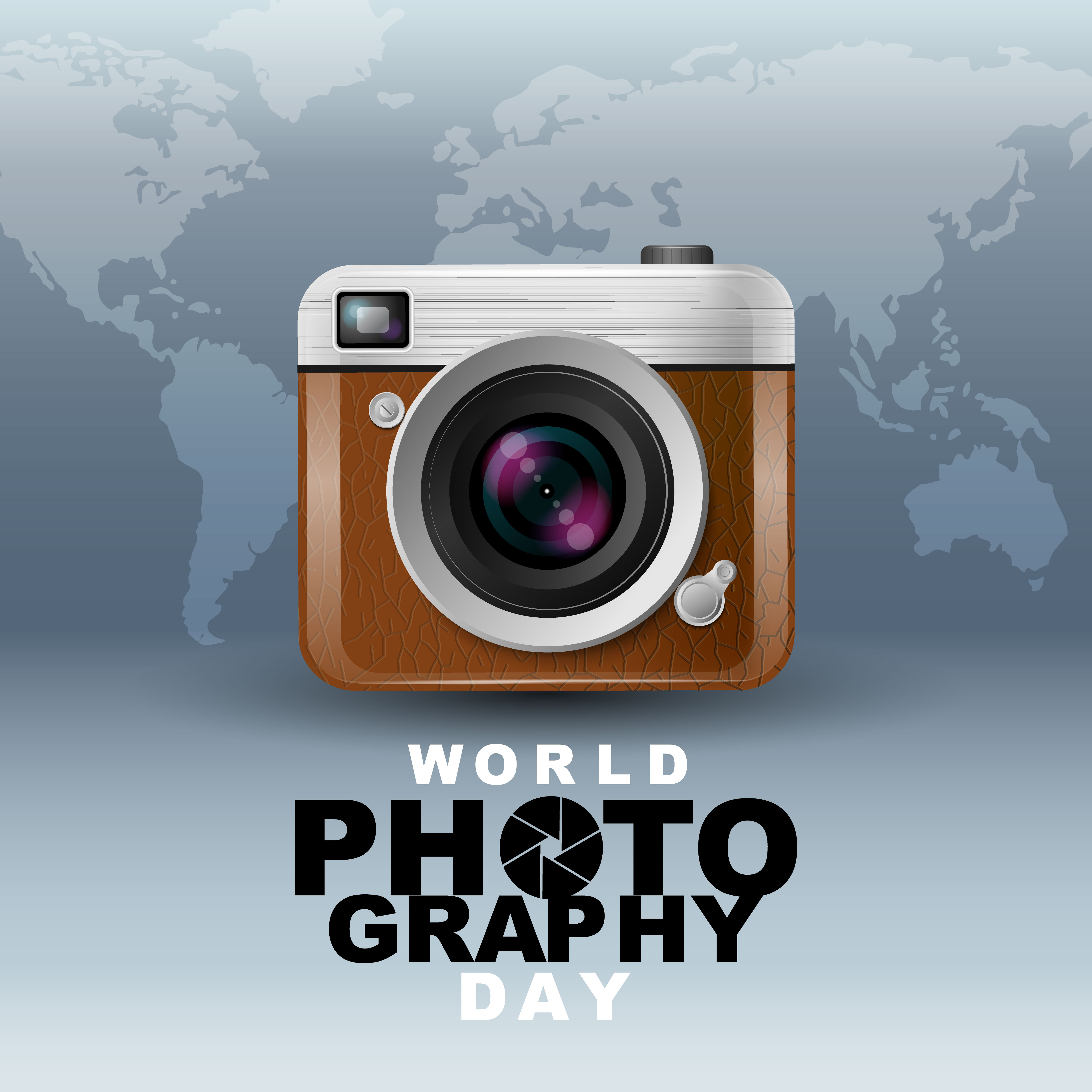 World Photography Day Poster With Camera And Map Download Free Vectors Clipart Graphics Vector Art