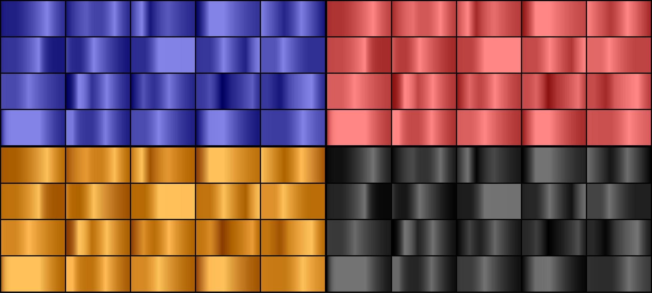 ensemble de dégradé de métal coloré vecteur