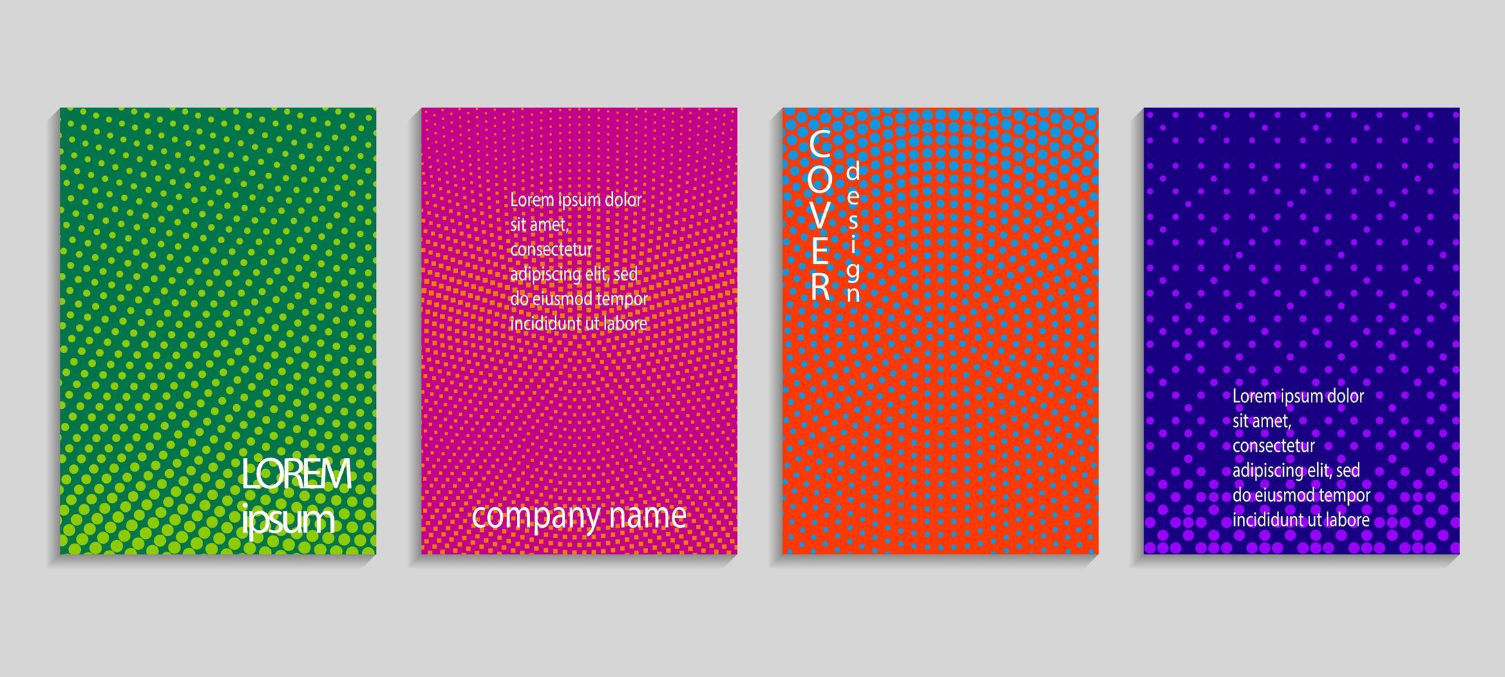 couvertures de motif de demi-teintes circulaires colorées vecteur