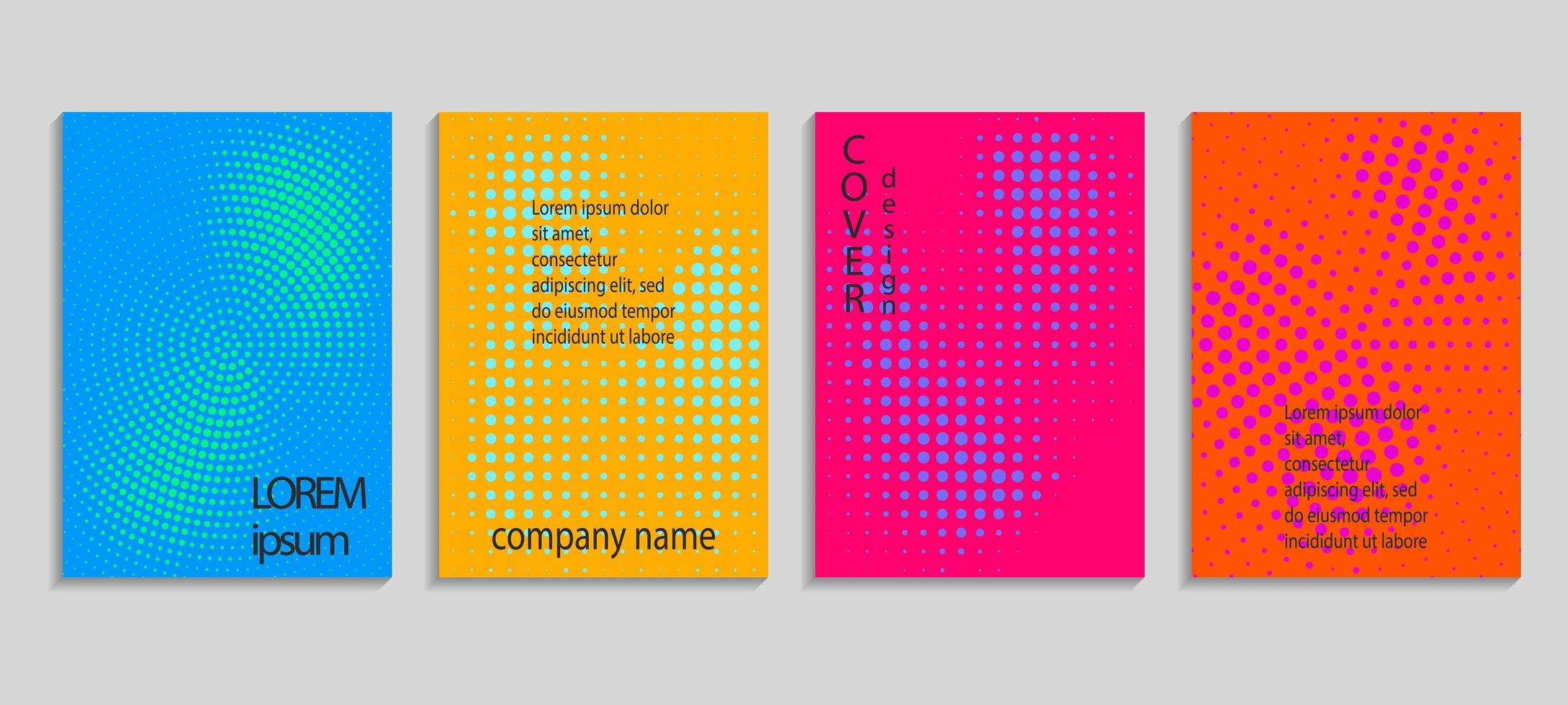 ensemble de couverture de conception de demi-teintes aléatoires colorées vecteur