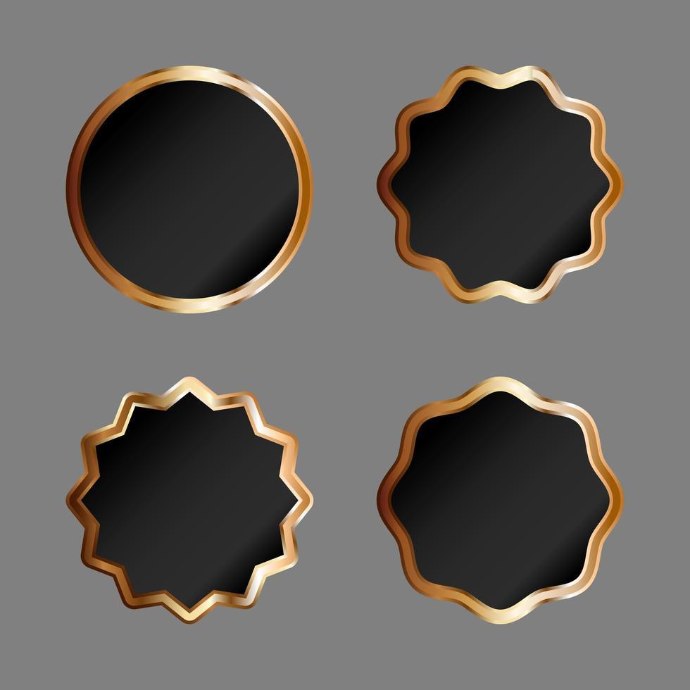distintivi neri con bordo dorato vettore