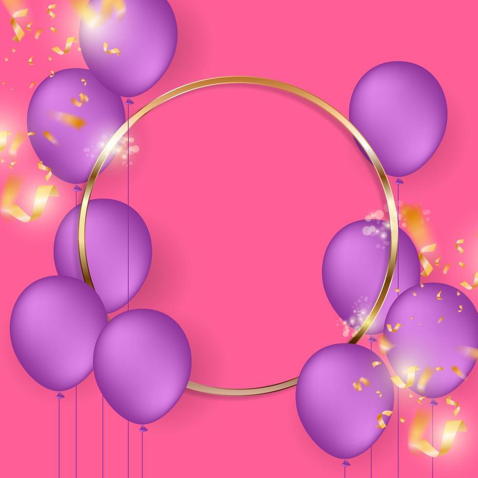 cornice del cerchio d'oro con palloncini viola sul rosa vettore