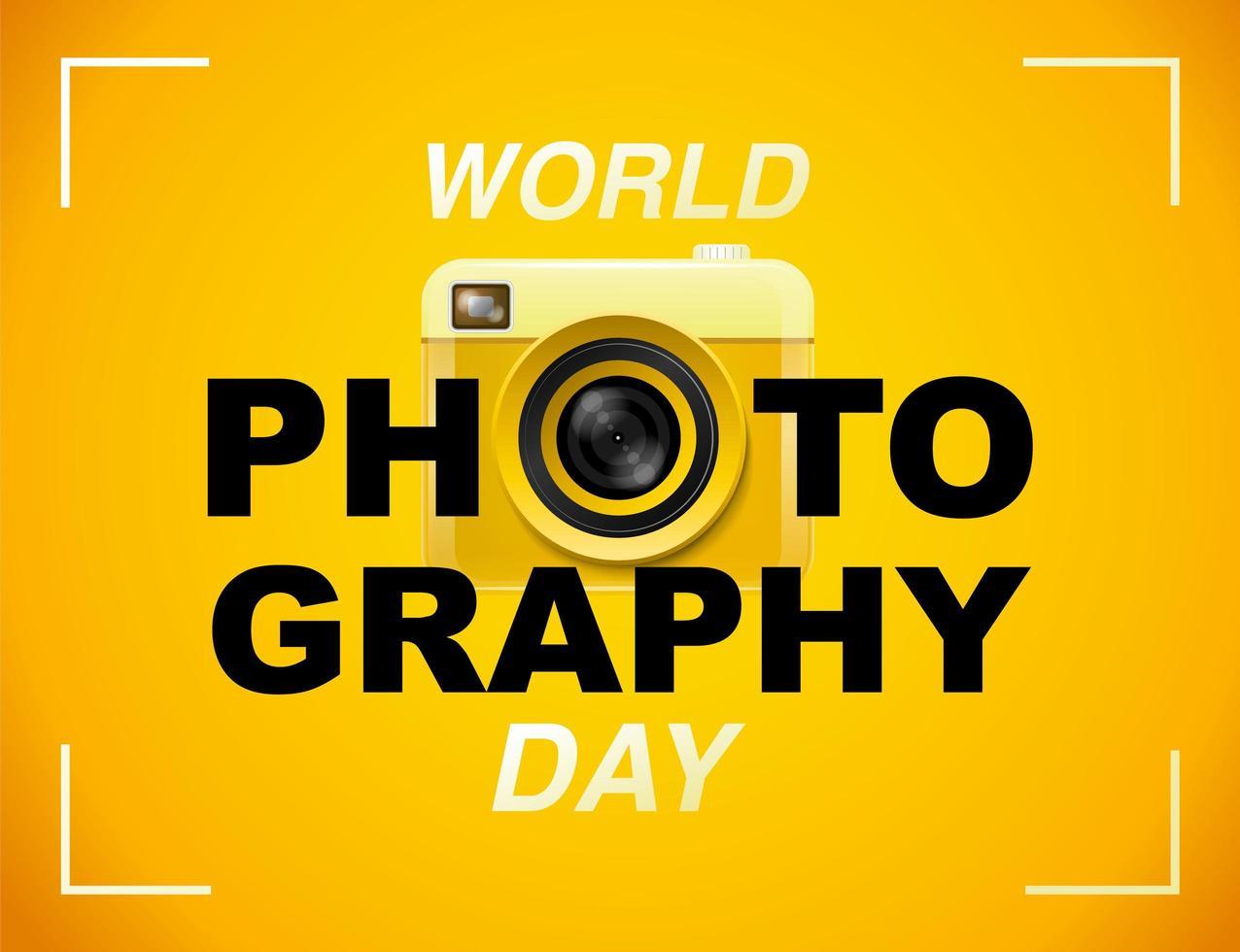 poster di giornata mondiale della fotografia con fotocamera gialla vettore
