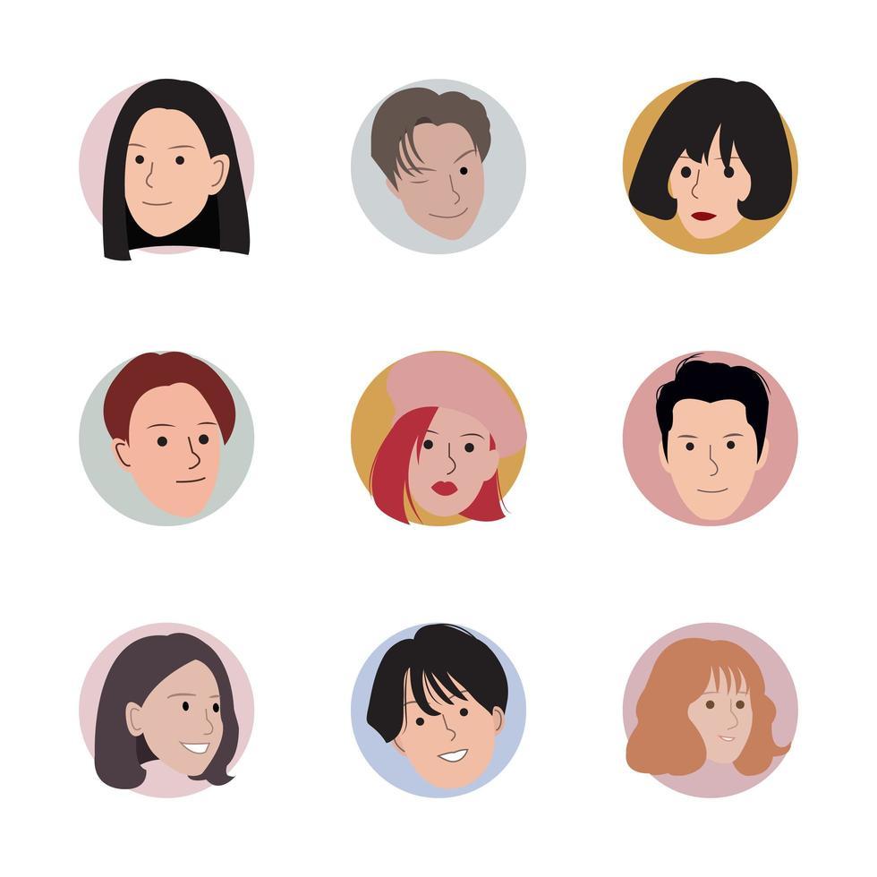 conjunto de elegantes cabezas de avatar en círculos vector