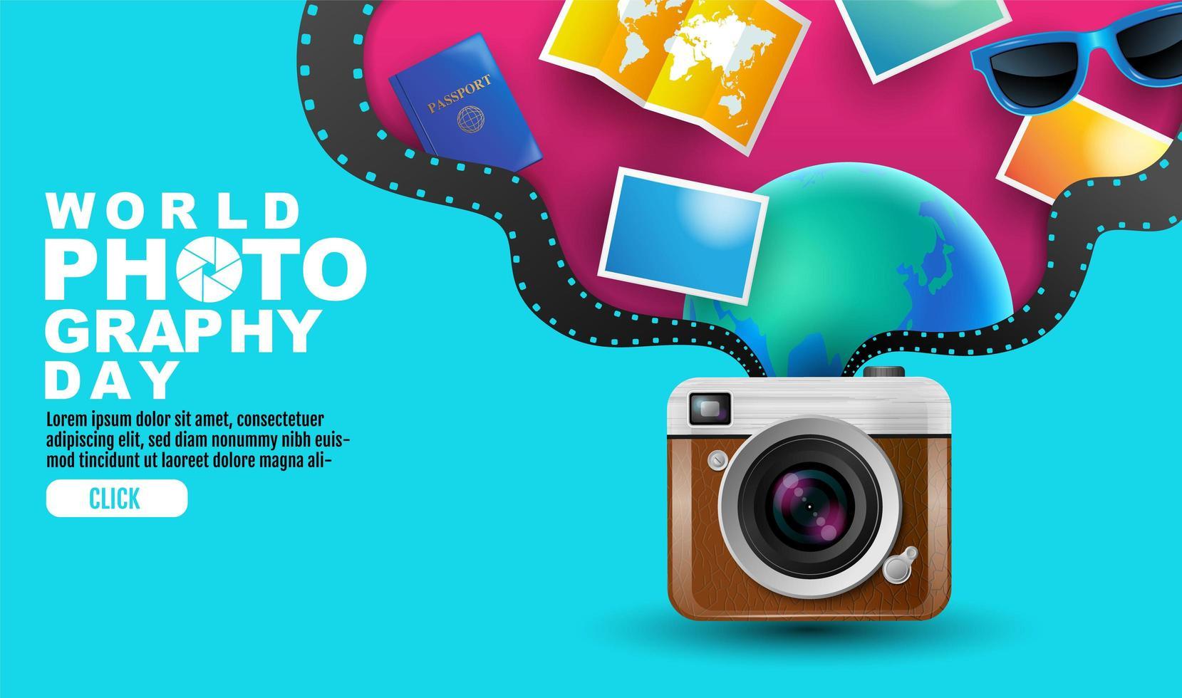 affiche de la journée mondiale de la photographie avec des éléments provenant de la caméra vecteur