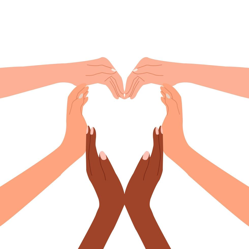 Multiracial hands together forming a heart vector
