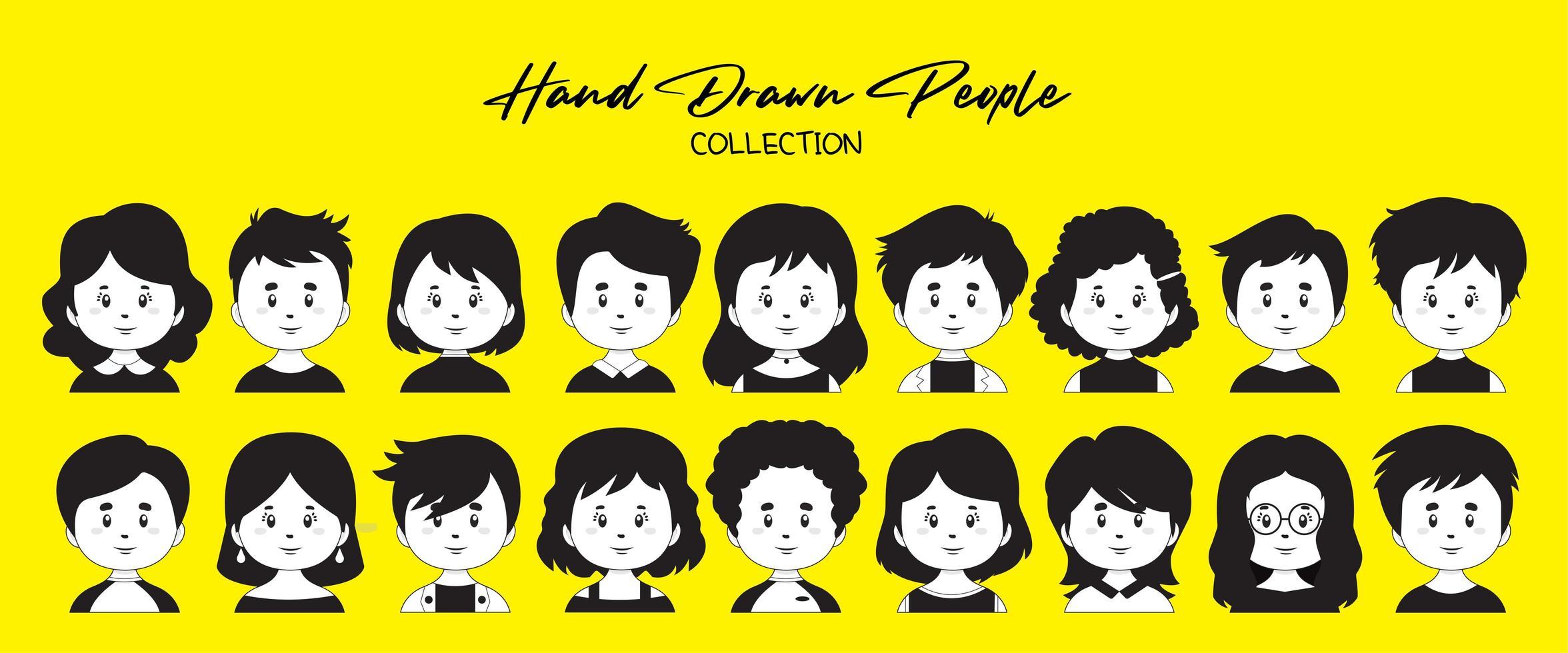 un ensemble d'avatars de personnes dessinées à la main vecteur