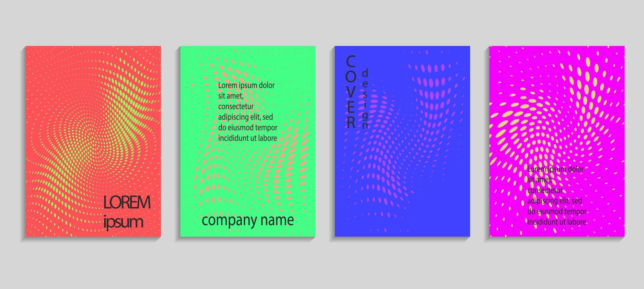 modelli di disegno di copertina di semitono astratto colorato luminoso vettore