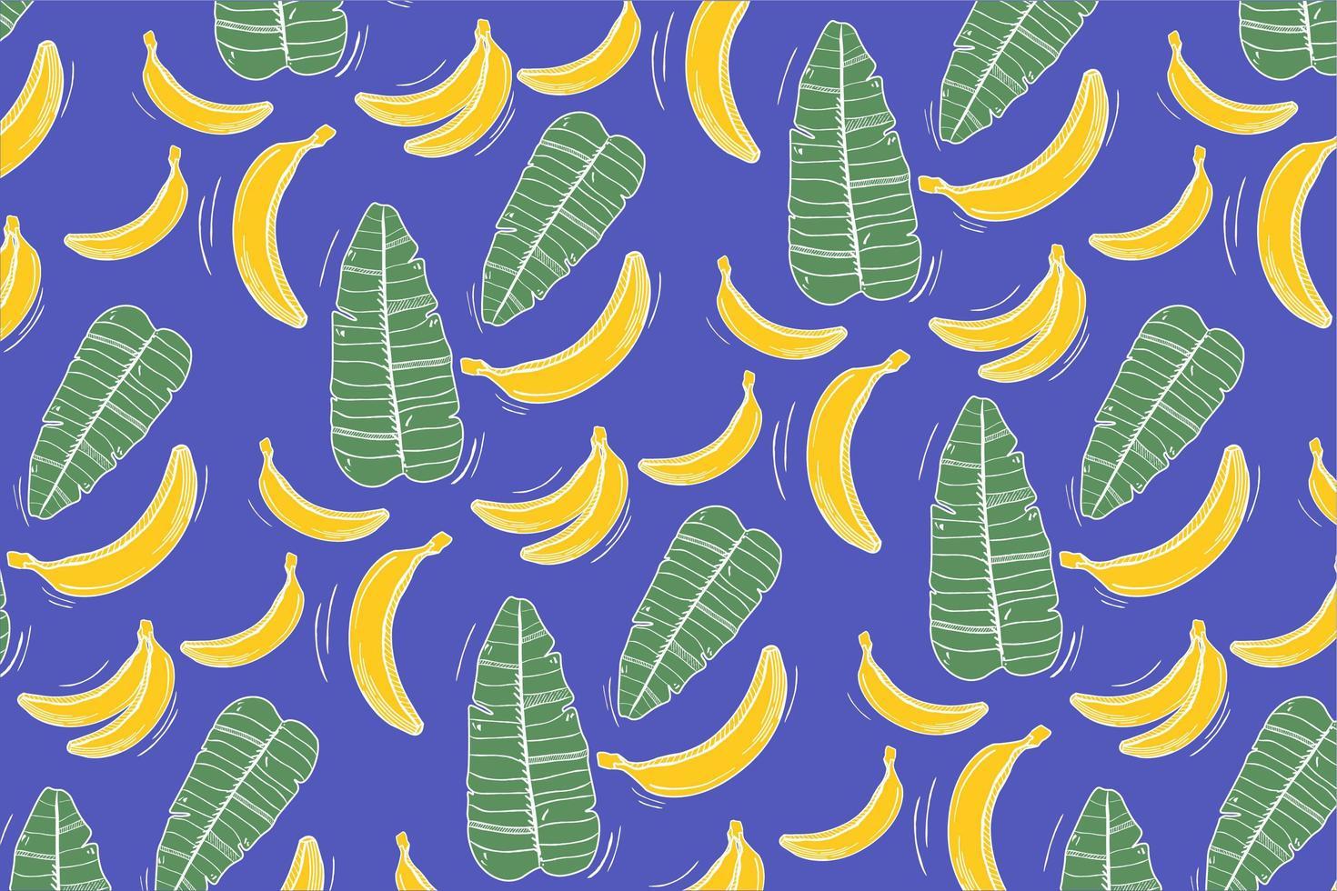 modello con banana e foglie su blu vettore