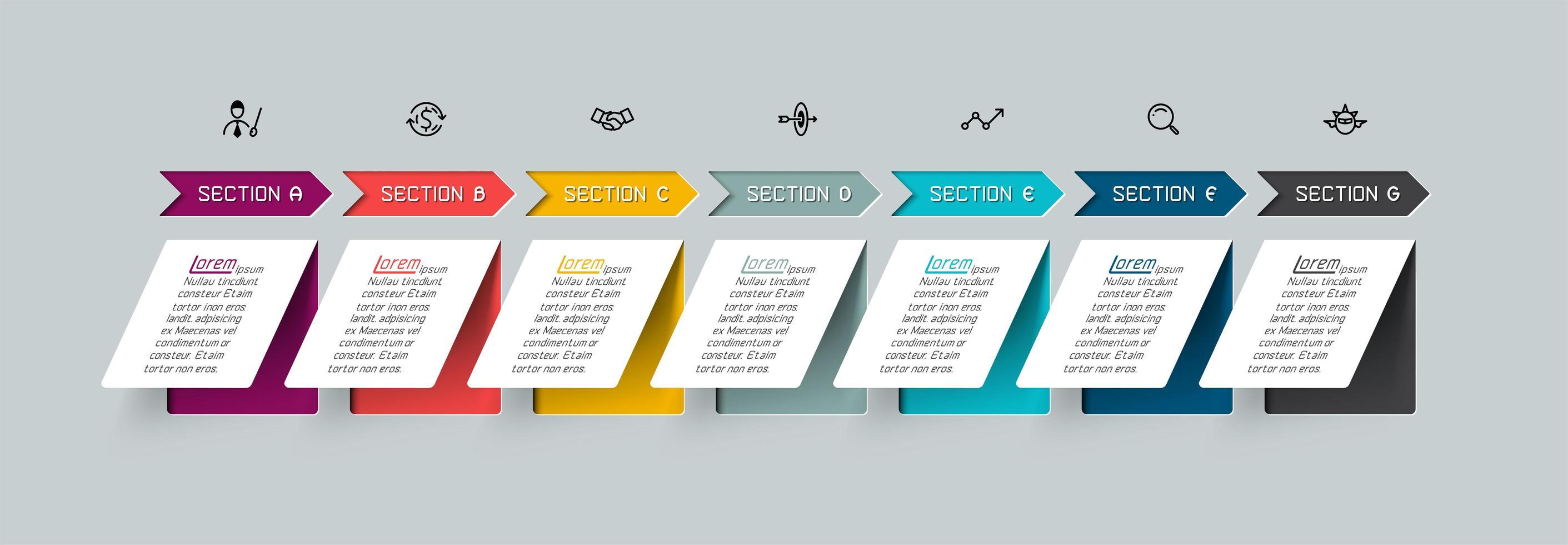 Flecha colorida y papel plano infografía vector