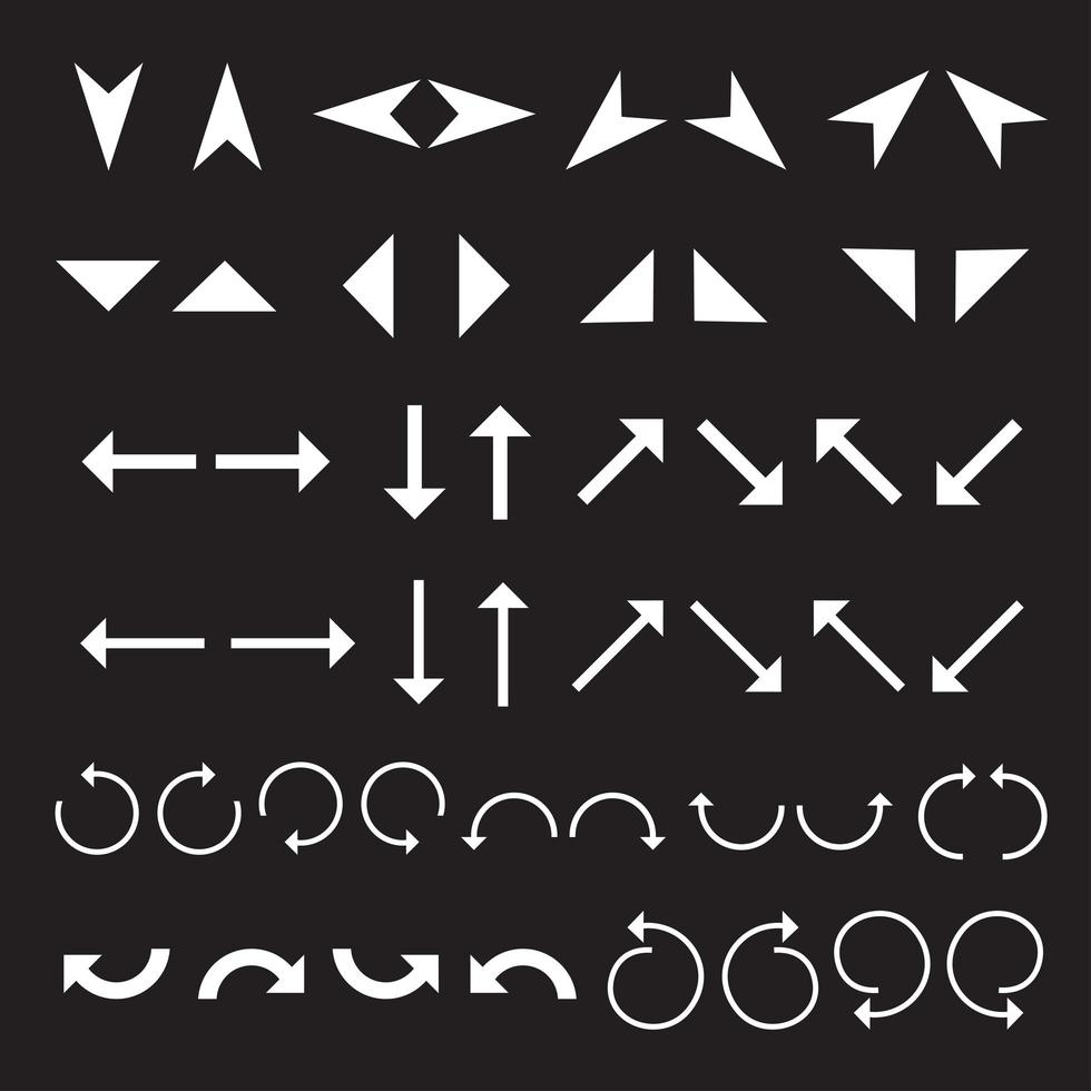 un set di icone freccia piatta vettore