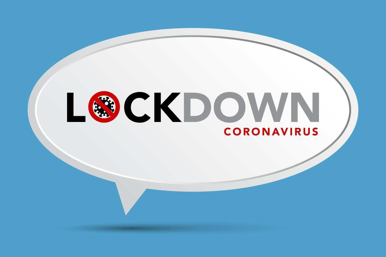 cartel de coronavirus de bloqueo con globo de diálogo en azul vector