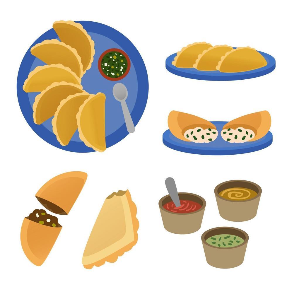 collezione di empanada e salsa vettore