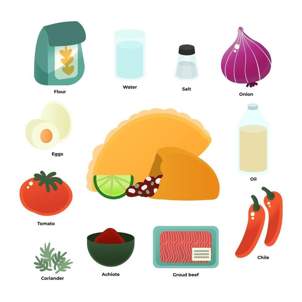 icone ingrediente ricetta empanada vettore