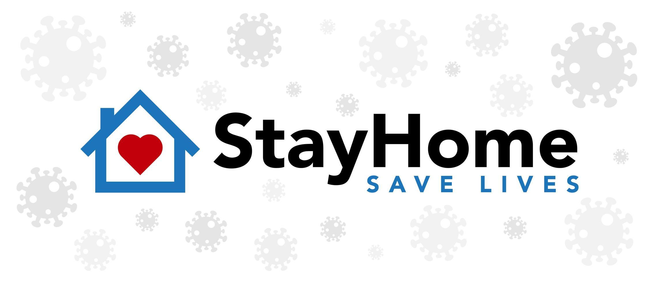 rester à la maison sauver des vies bannière de coronavirus vecteur
