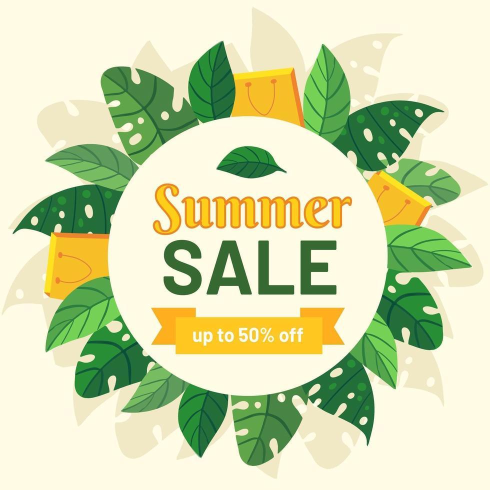 segno del cerchio di vendita estate con foglie e borse della spesa vettore