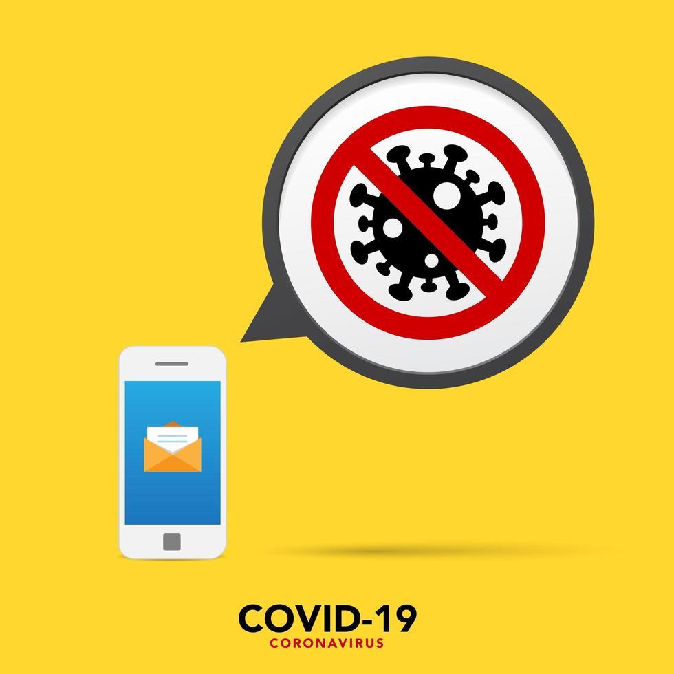 fermare il banner coronavirus con il cellulare vettore