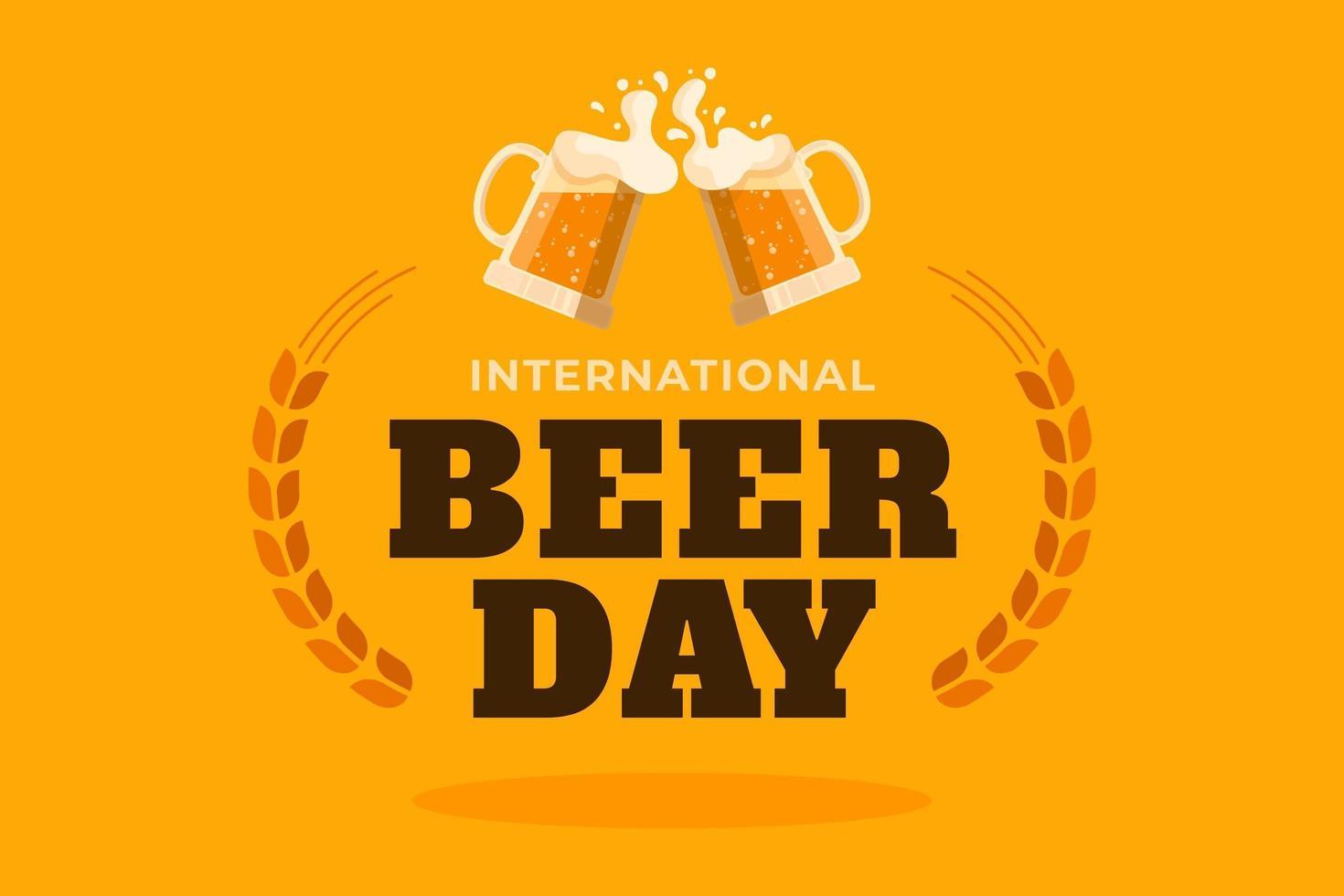 manifesto della giornata internazionale della birra con tazze sull'arancia vettore