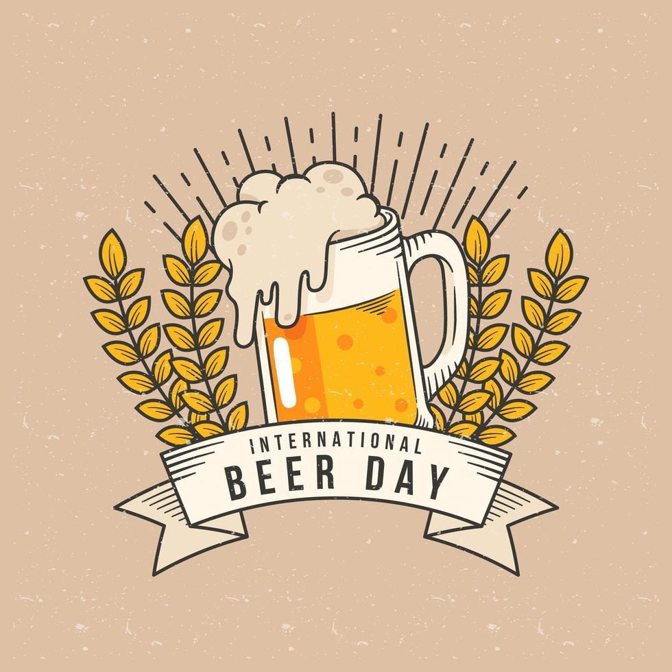 emblema della giornata internazionale della birra con birra, banner e grano vettore
