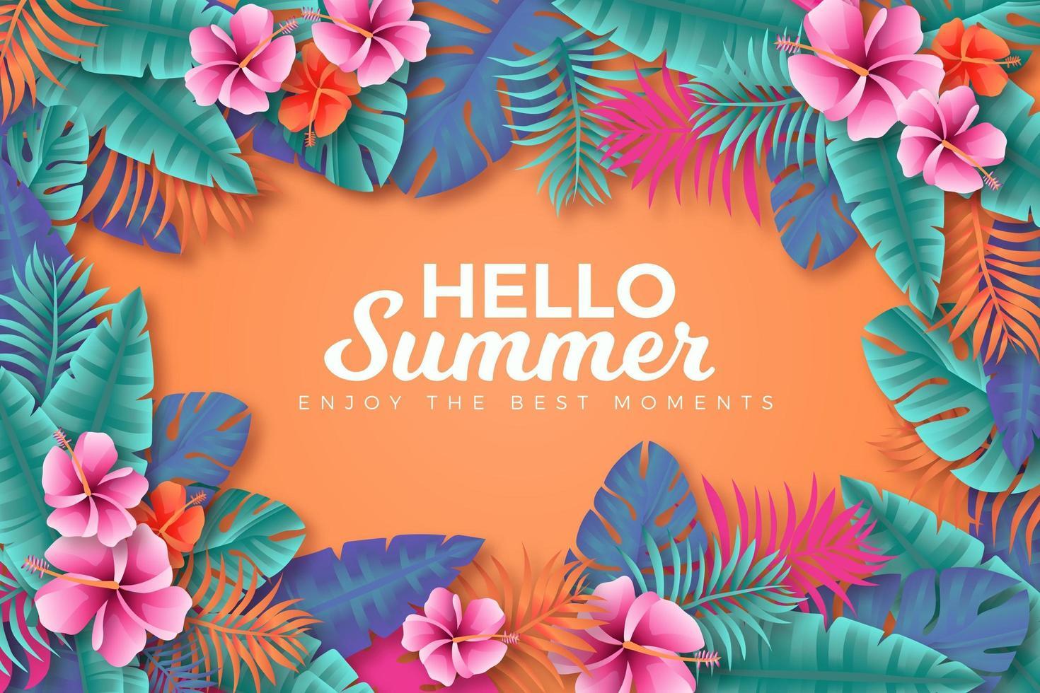 manifesto colorato estate tropicale cornice foglia e fiore vettore