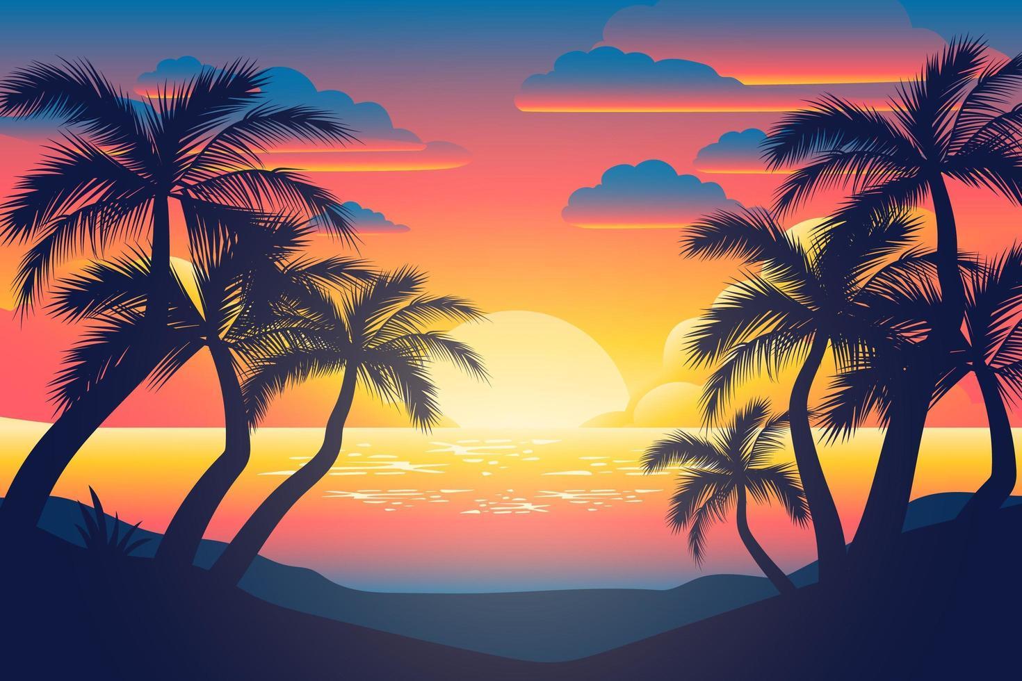 affiche colorée de silhouettes de coucher de soleil et de palmiers vecteur