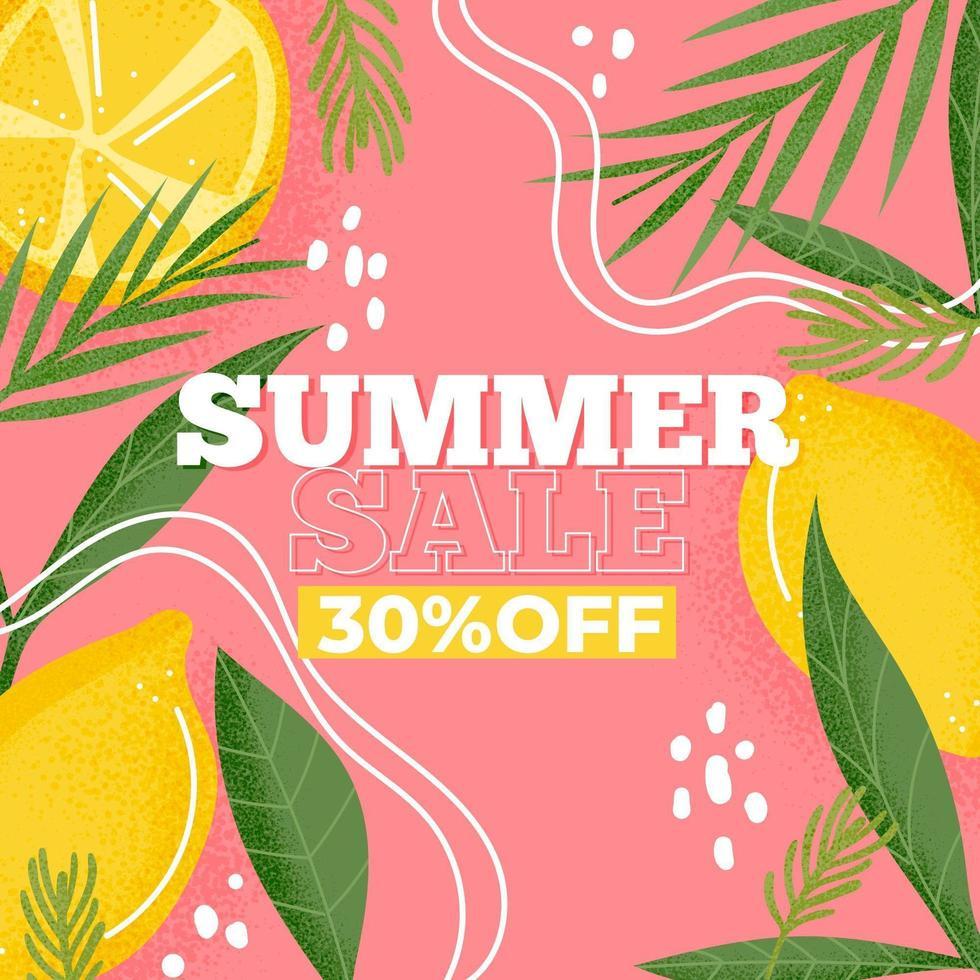 Signe de vente d'été coloré citron et feuilles tropicales vecteur