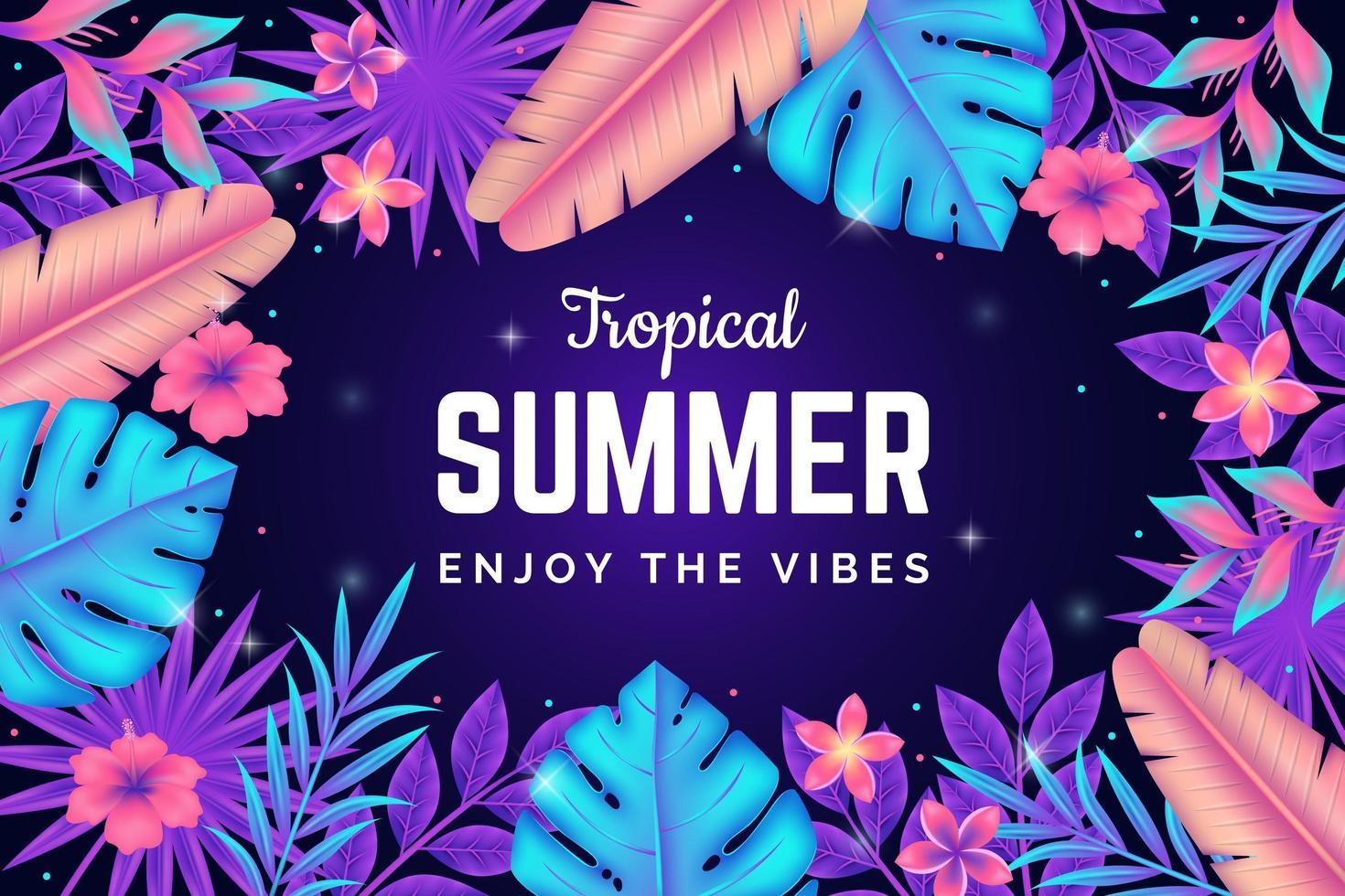affiche de vibes d'été de fleurs et de feuilles lumineuses vecteur