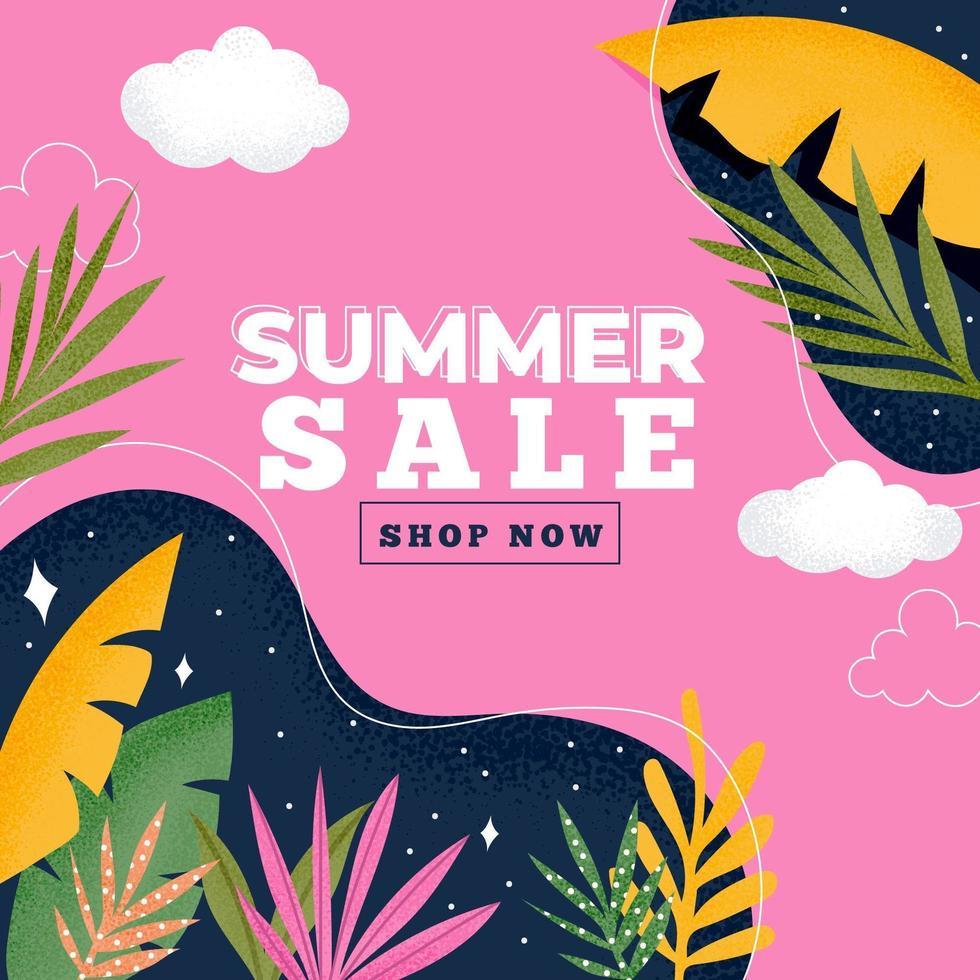 conception de vente d'été feuille tropicale colorée vecteur
