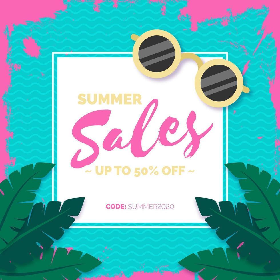 segno di vendita estiva con bordo tratto pennello rosa vettore