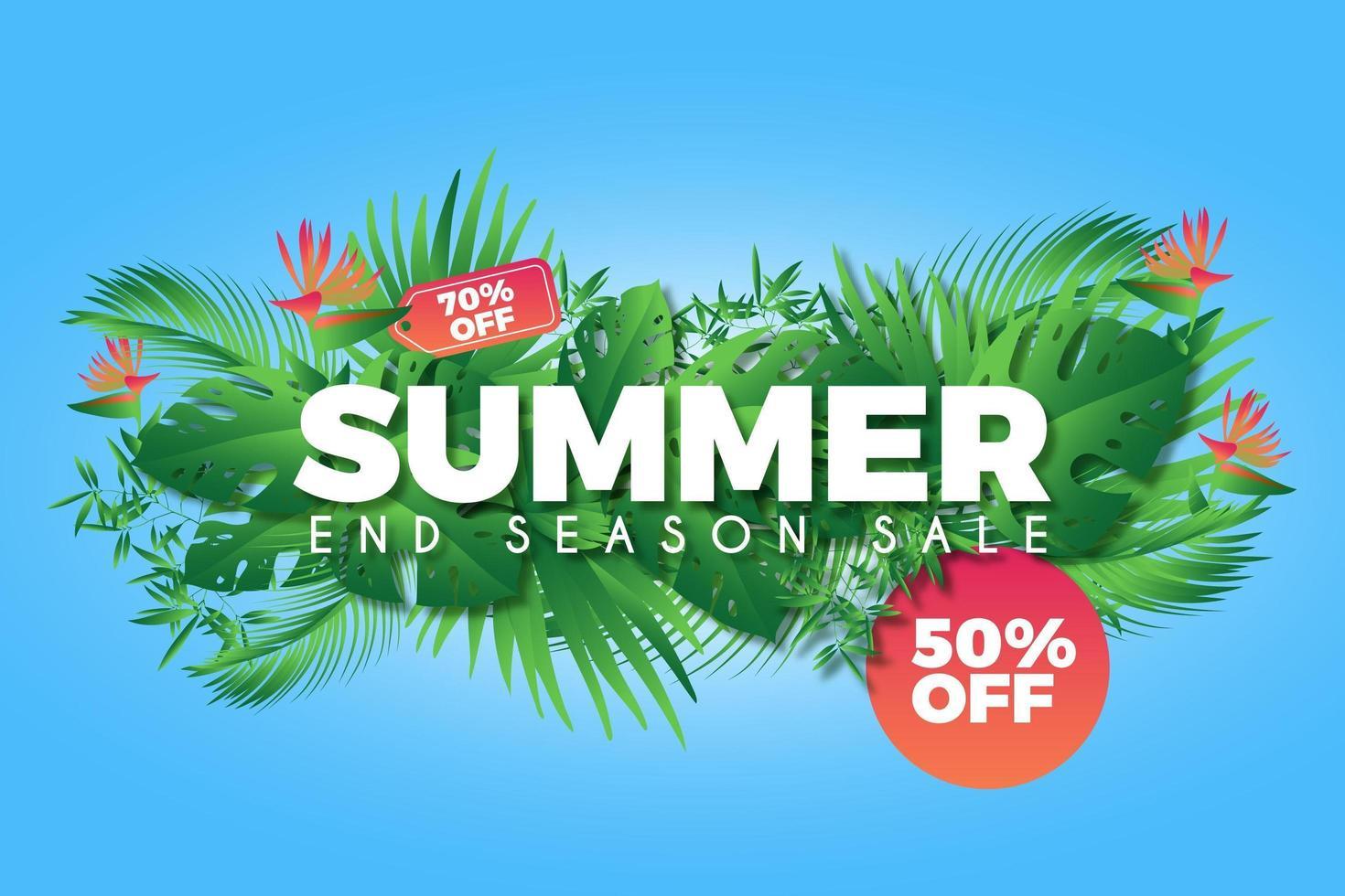 manifesto promozionale di vendita estate mazzo colorato foglia vettore