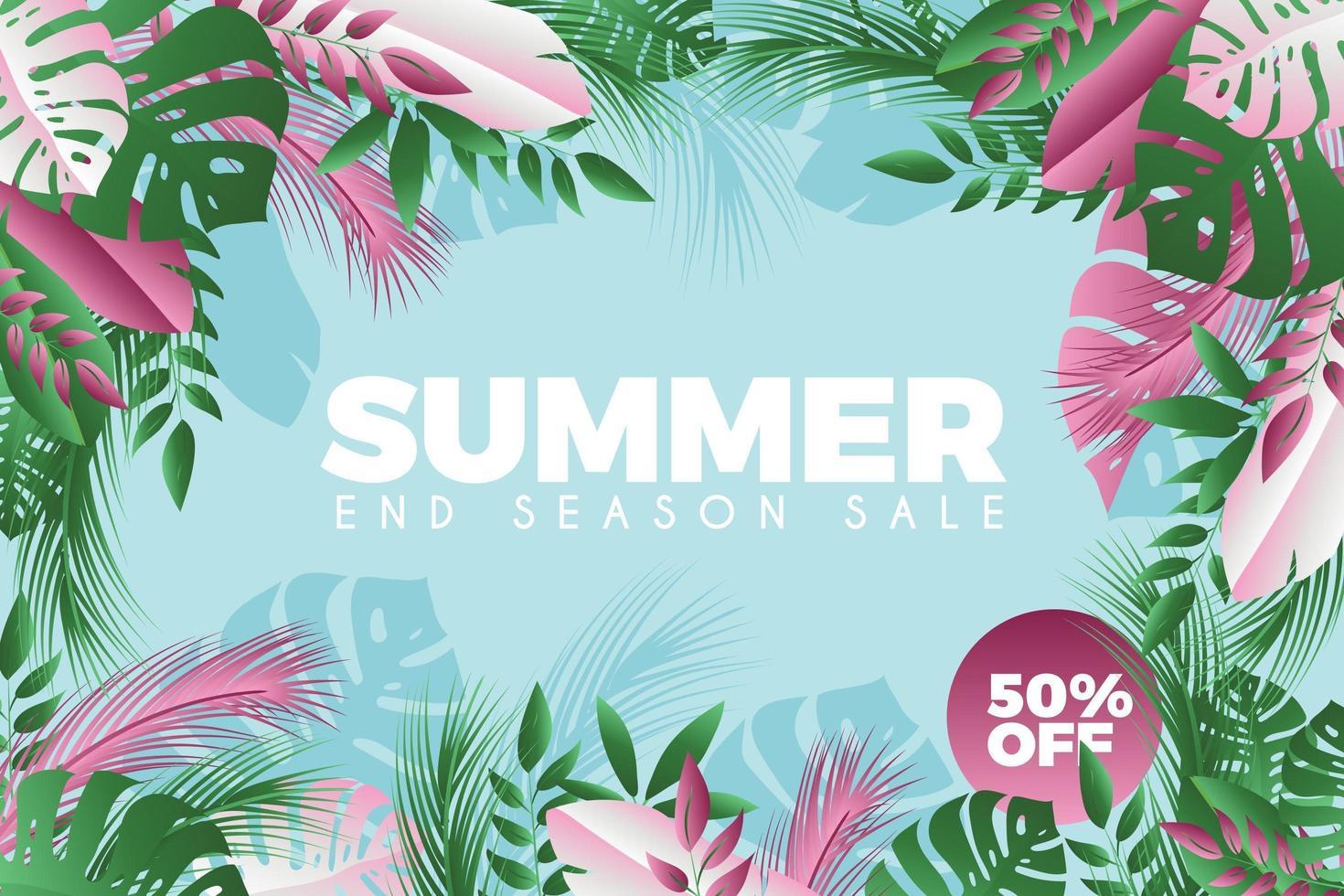 affiche de vente d'été de fleurs et de feuilles vertes et roses vecteur