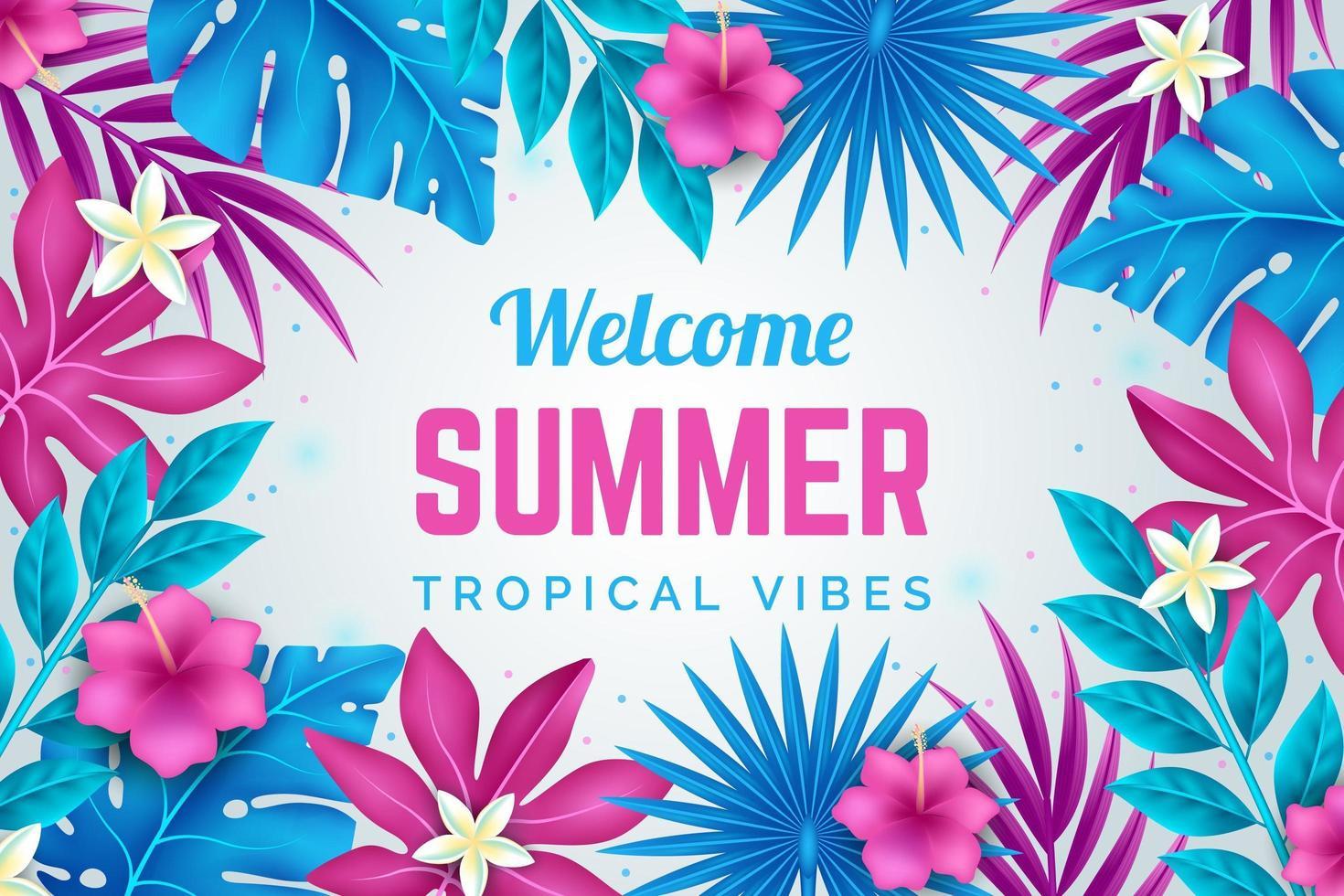manifesto di estate fiore e foglia rosa e blu brillante vettore