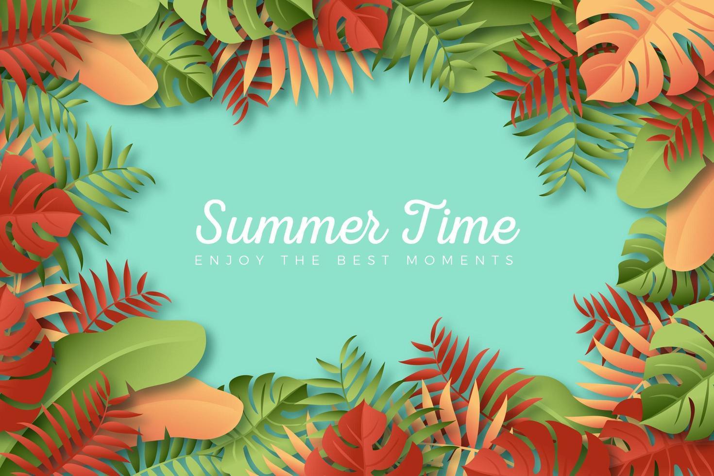 affiche d'été de cadre de feuilles tropicales marron et vert vecteur