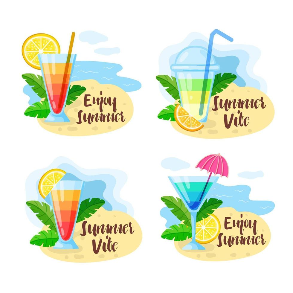 collection d'insignes de boisson d'été vecteur