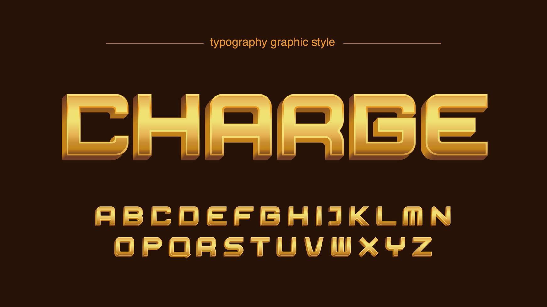 tipografia maiuscola grassetto 3d dorato vettore