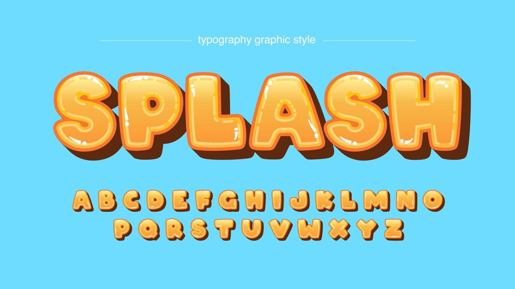 typographie caricaturale arrondie bulle orange brillant vecteur
