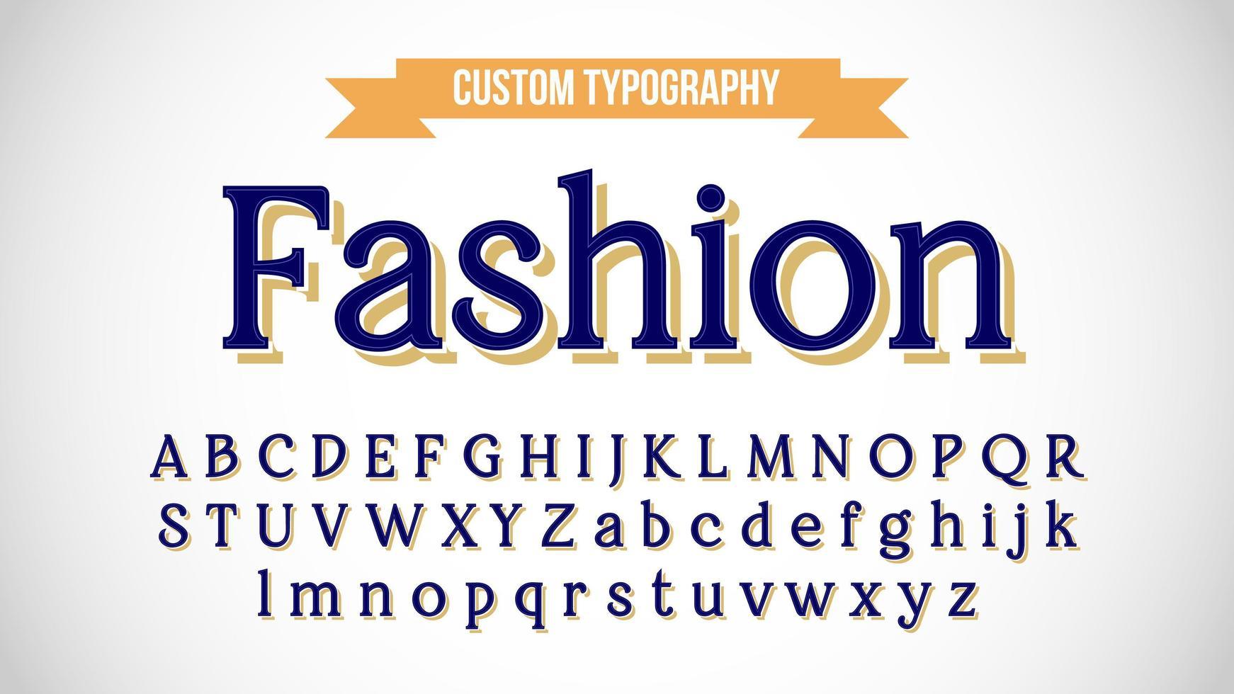 blu con ombra gialla tipografia serif vintage vettore