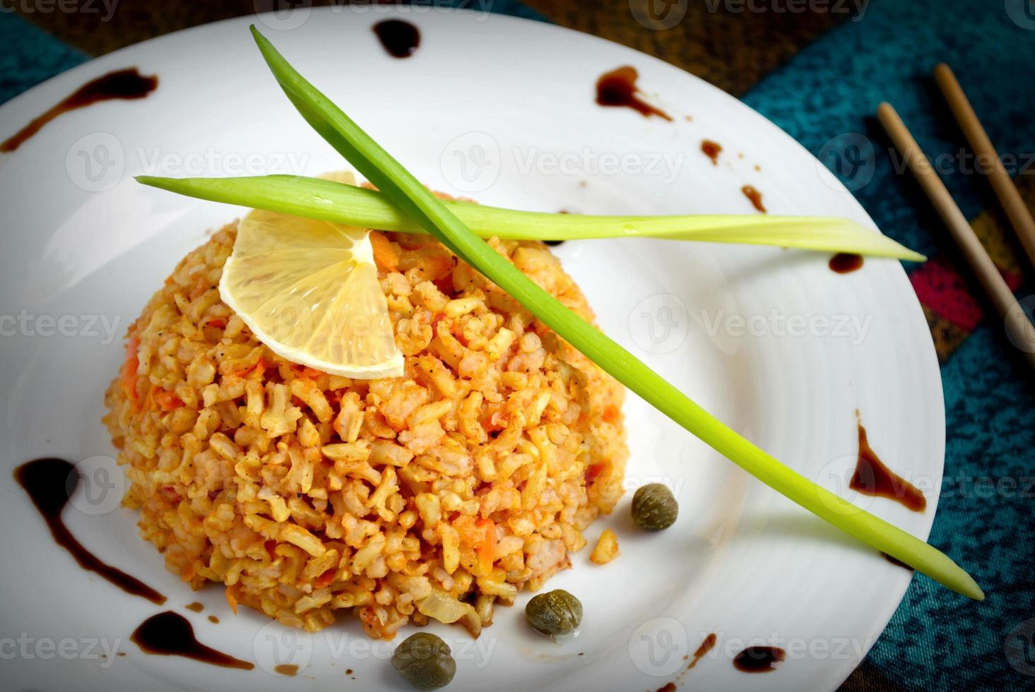 brown rice with capers, lemon, chive and balsamic vinegar photo