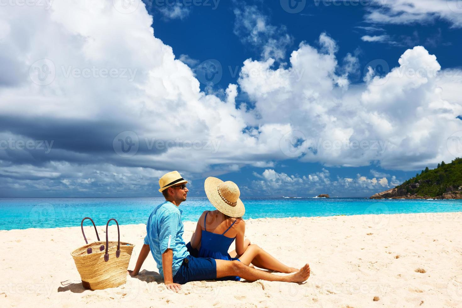 Couple on a beach at Seychelles photo