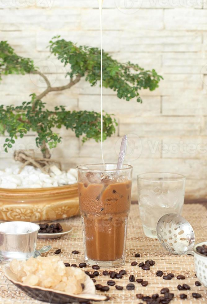 Traditional Vietnamese, Thai Ice coffee with beans photo